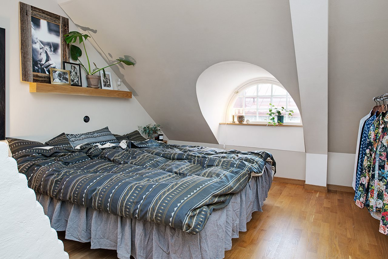 modern kitchen curtains two seat table attic apartment in the scandinavian style