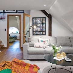 Living Room With Carpet Asian Style Modern Attic Apartment In The Scandinavian