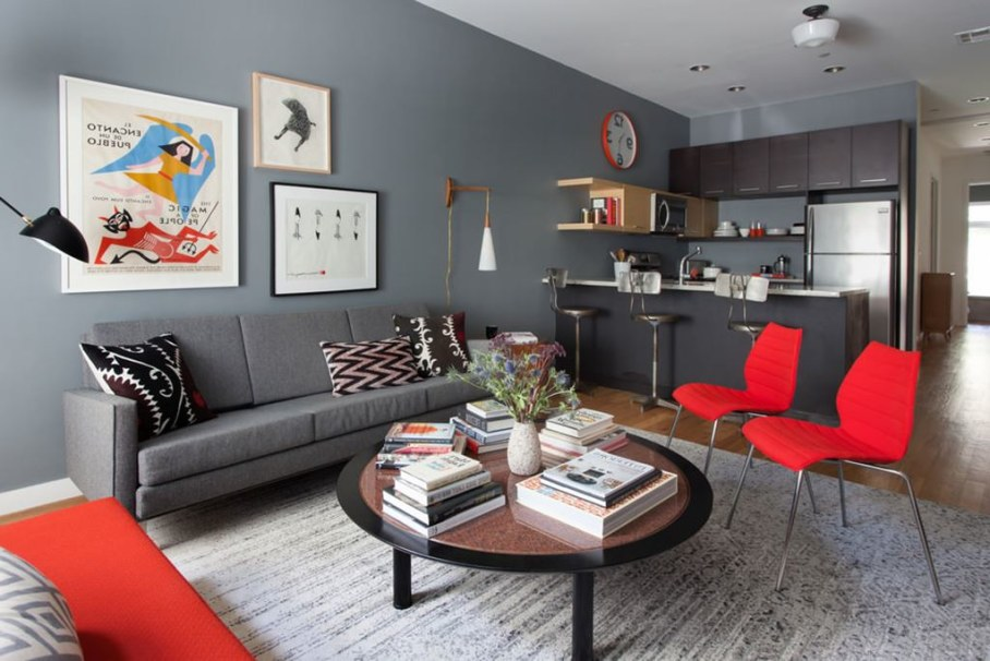 Living room and bedroom design in retro style of a two