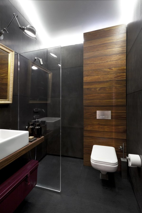 Bathroom Wall with Concrete and Wood