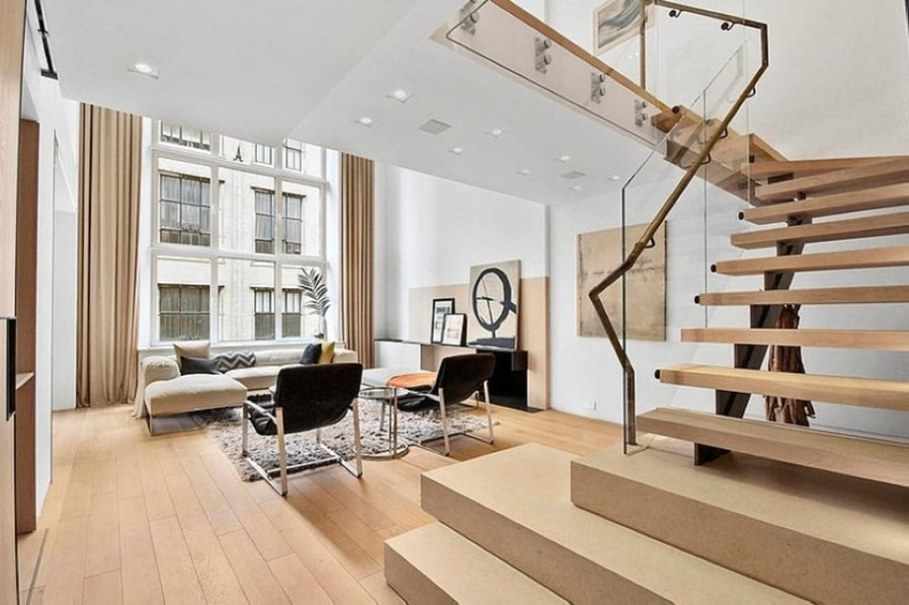 Modern Interior Design Of A Duplex Apartment In New York | Duplex Living Room With Stairs | Modern | Single Room | Duplex Step | Indoor | Balcony