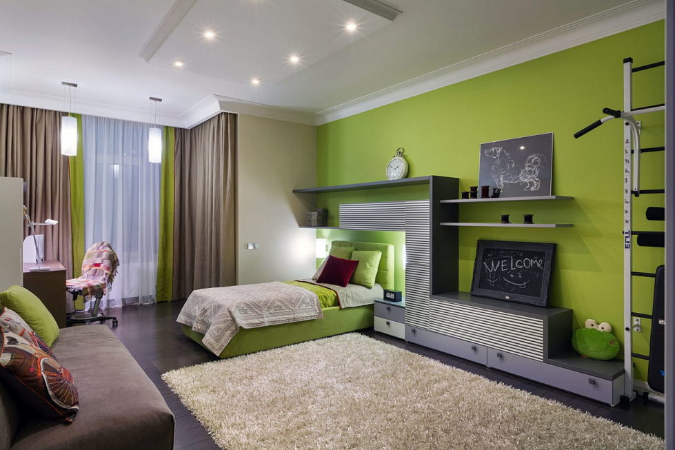lime green sofa living room ideas slip covers for cushions combination of the color in interior