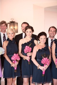 The gallery for --> Navy Blue Bridesmaid Dresses Pink Flowers