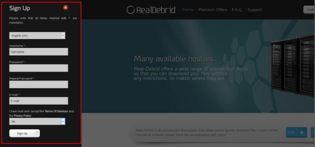 Real Debrid Sign up