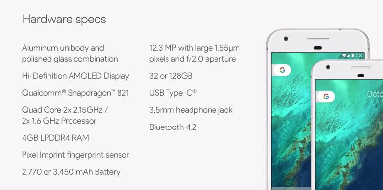 Google Pixel XL Spezifikationen und Maße