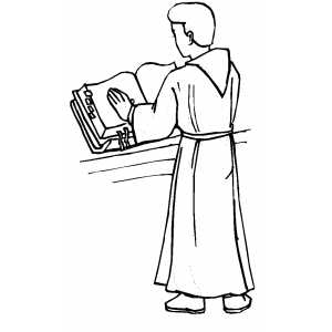 Altar Server Reading Book Coloring Page
