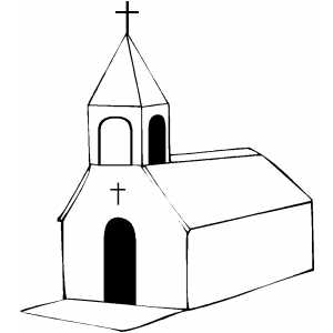 Chirch With Single Cross Coloring Page