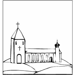 Church On The Hill Coloring Page