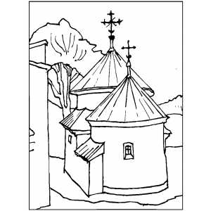Church With Round Towers Coloring Page