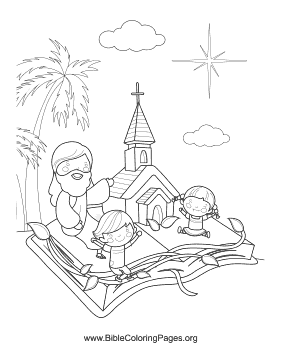 Church in Bible Vertical Coloring Page