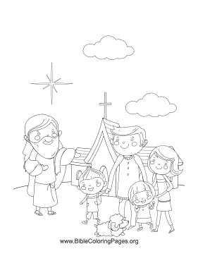 Family Jesus Church Coloring Page