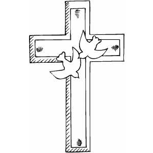 Cross And Doves Coloring Page