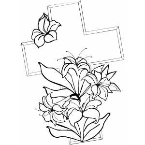 Cross And Lilies Coloring Page