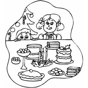 Delicious Christmas Desserts Coloring Page