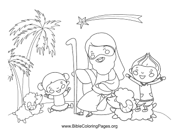 Children and Jesus Coloring Page