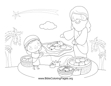 Fish and Loaves Coloring Page