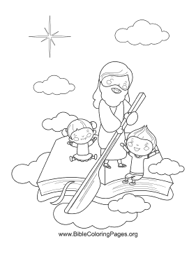 Jesus Bible Boat Coloring Page
