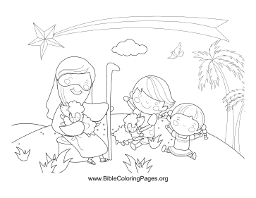Jesus Holding Sheep Coloring Page