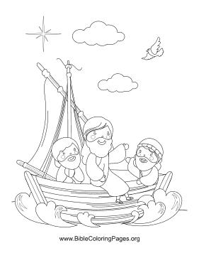 Jesus in Boat Coloring Page