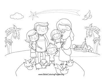 Jesus with Family Coloring Page