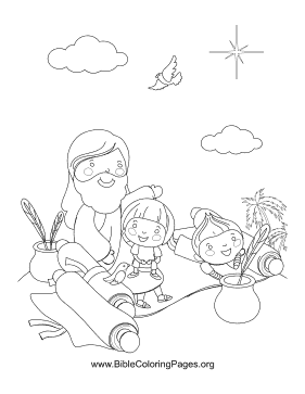 Kids Writing Scrolls Coloring Page