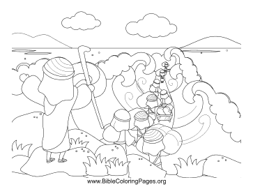 Moses Parts Red Sea Coloring Page