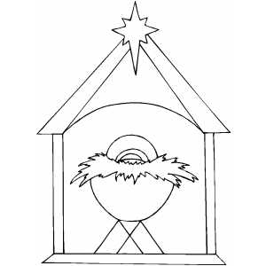 Nativity Scene With Star Coloring Page
