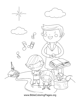Family Singing Hymns Coloring Page