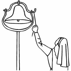 Nun Ringing Bell Coloring Page