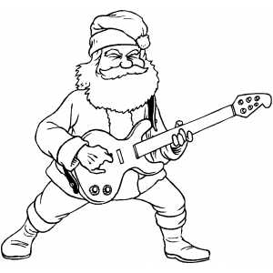 Santa Rock And Roll Coloring Page