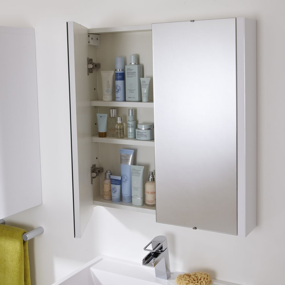 Milano Ren White Modern Wall Hung Bathroom Mirrored Cabinet 650mm X 600mm