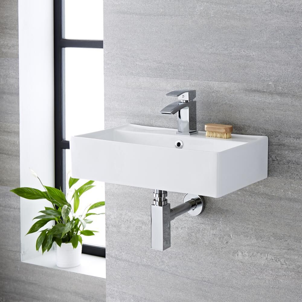 milano dalton white modern rectangular wall hung basin 550mm x 310mm 1 tap hole