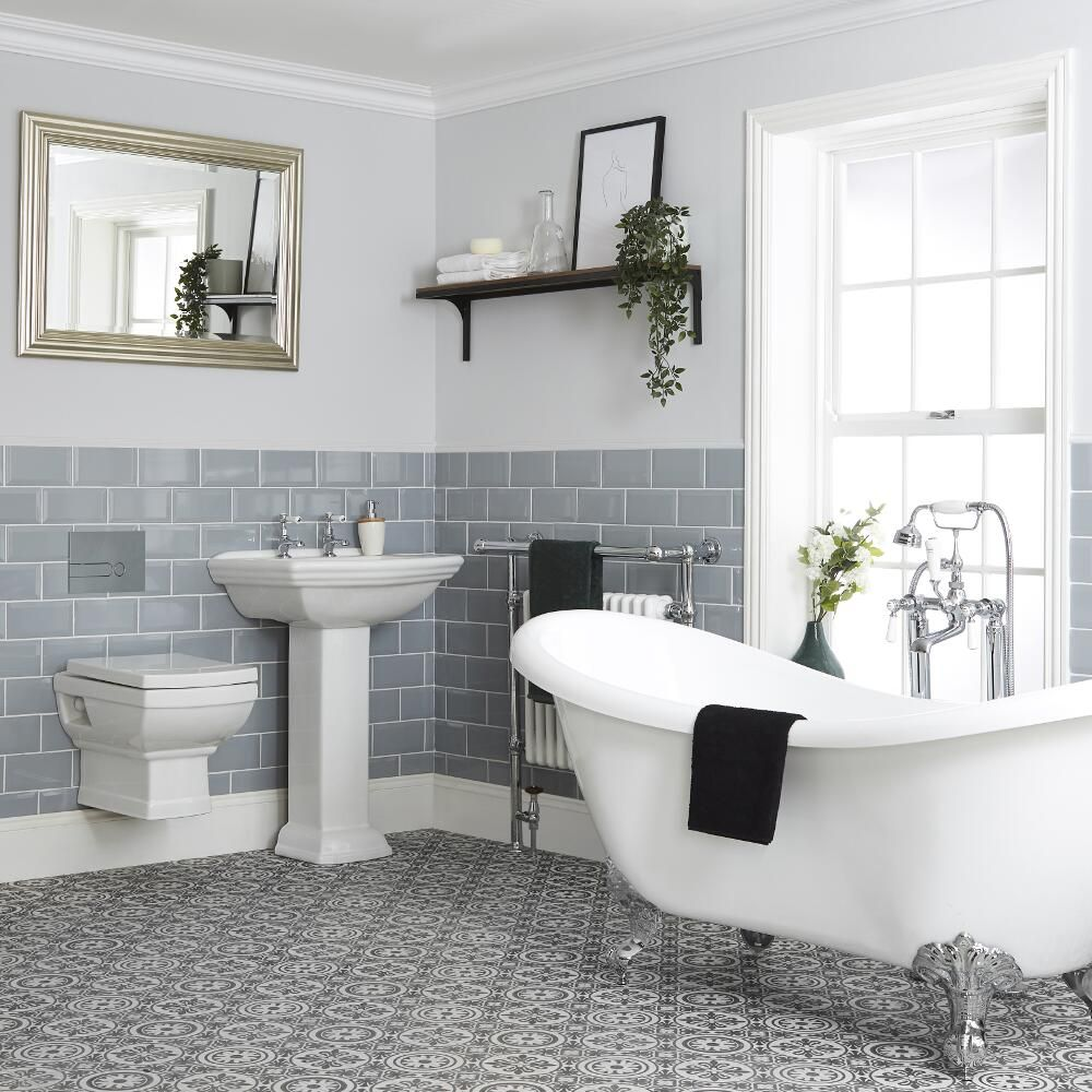 Milano Sandringham Traditional Bathroom Suite With Freestanding Bath Wall Hung Toilet Bidet And Pedestal Basin
