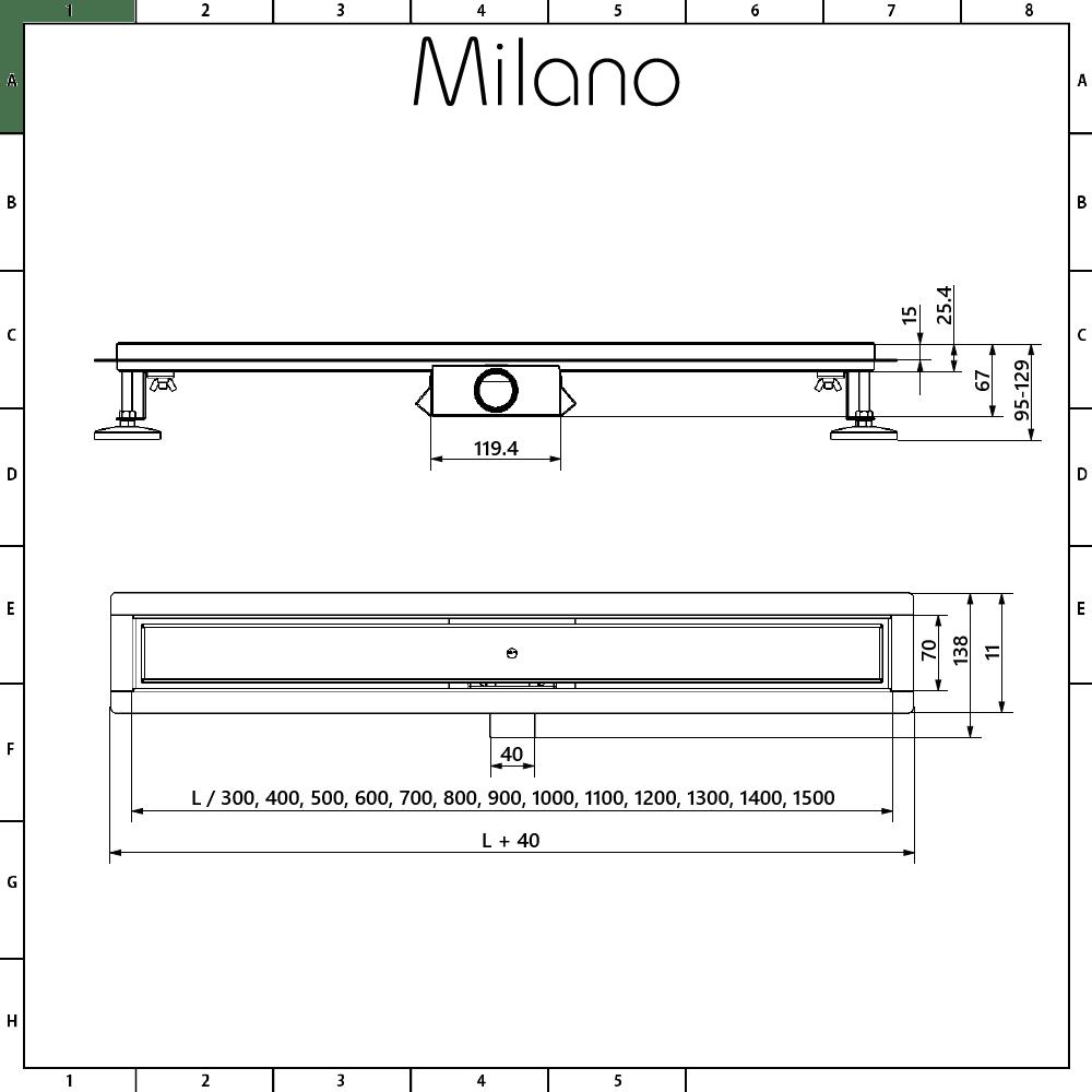 milano 800mm tile insert linear stainless steel shower drain