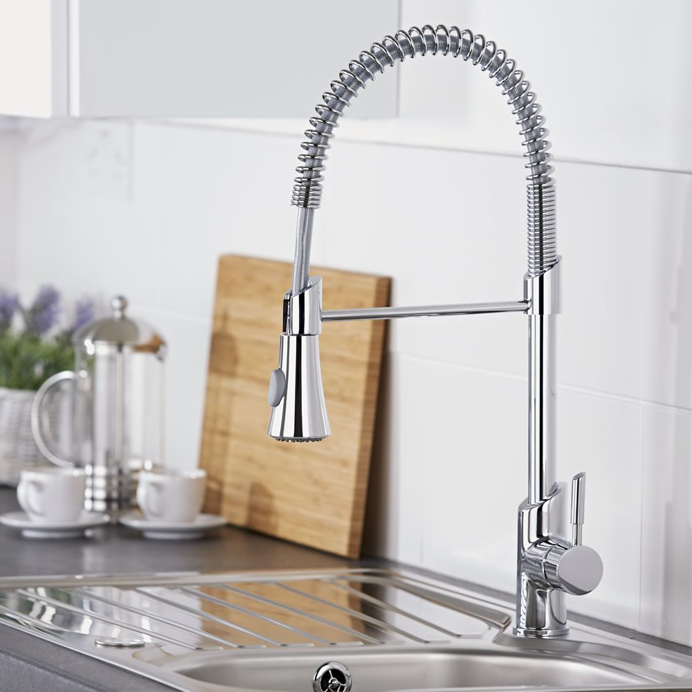 kitchen tap ikea storage cabinets milano chrome pull down spray