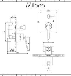 milano vora modern manual shower valve with diverter 2 outlets chrome [ 1000 x 1000 Pixel ]