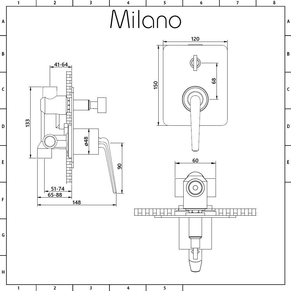 medium resolution of milano vora modern manual shower valve with diverter 2 outlets chrome