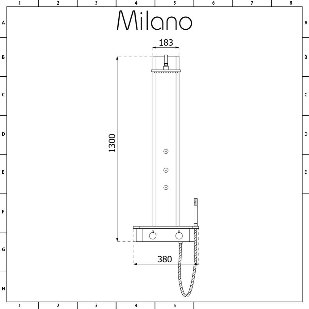 hight resolution of milano astley modern thermostatic exposed corner shower tower panel with hand shower body jets and shelf chrome