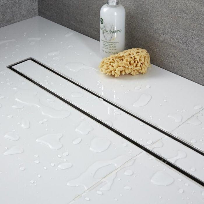 milano 600mm tile insert linear stainless steel shower drain