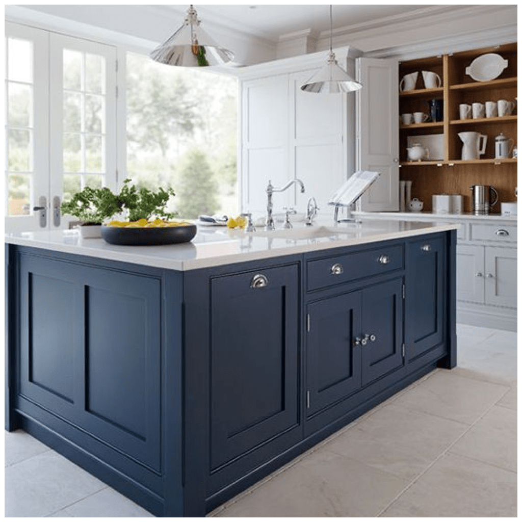 blue kitchen island colorful cabinets 4 ways to use navy in your on center counter instantly add depth