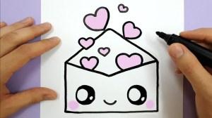 drawings easy draw hearts envelope happy kawaii dessin coeur drawing sketches please facile sencillos tiernos faciles pretty amor dibujos idees