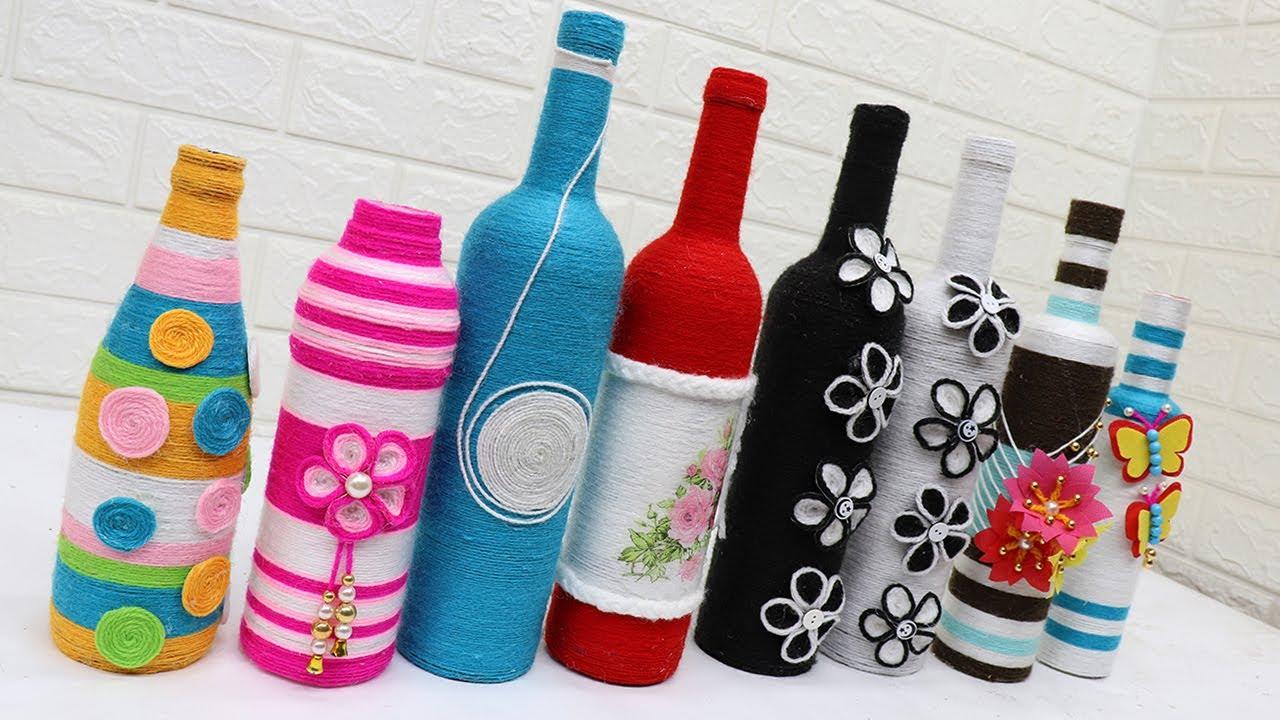 11 glass bottle woolen craft how to
