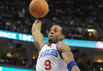 PHILADELPHIA - OCTOBER 27:  Andre Iguodala #9 of the Philadelphia 76ers in action during the game against the Miami Heat at the Wells Fargo Center on October 27, 2010 in Philadelphia, Pennsylvania. NOTE TO USER: User expressly acknowledges and agrees that, by downloading and or using this photograph, User is consenting to the terms and conditions of the Getty Images License Agreement. (Photo by Drew Hallowell/Getty Images)