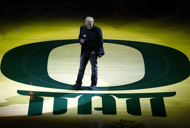 EUGENE, OR - JANUARY 13:  Nike founder Phil Knight speaks to the crowd  before the Oregon Ducks versus the USC Trojans game at the grand opening of the Matthew Knight Arena on January 13, 2011 at Matthew Knight Arena in Eugene, Oregon.  (Photo by Jonathan Ferrey/Getty Images)