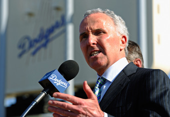 LOS ANGELES, CA - APRIL 14: Los Angeles Dodgers owner Frank McCourt speaks at a news conference at Dodger Stadium prior to a game between the St. Louis Cardinals and Los Angeles Dodgers on April 14, 2011 in Los Angeles, California. Large numbers of LAPD officers are being deployed as part of a zero tolerance policy toward misbehaving fans in response to the opening day attack on Stow two weeks ago. (Photo by Kevork Djansezian/Getty Images)