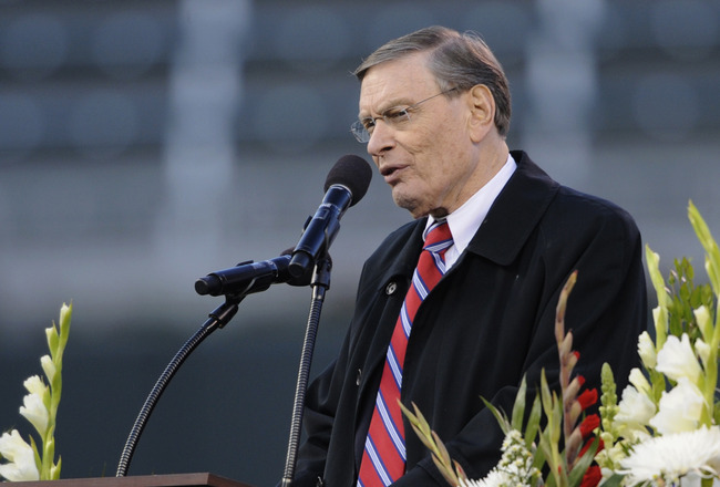 MINNEAPOLIS, MN - MAY 26: Bud Selig, commissioner of Major League Baseball speaks at the memorial service for Hall of Famer Harmon Killebrew on May 26, 2011 at Target Field in Minneapolis, Minnesota. Harmon Killebrew passed away on May 17, 2011 after a battle with esophageal cancer. (Photo by Hannah Foslien/Getty Images)