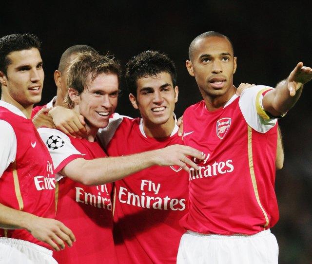 London September  Alexander Hleb Nd Left Of Arsenal Celebrates Scoring The
