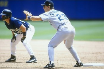 20 Jul 1995:  Tino Martinez of the Seattle Mariners covers his plate during their 4-2 win over the Milwaukee Brewers at Milwaukee County Stadium in Milwaukee, Wisconsin. Mandatory Credit: Jonathan Daniel  /Allsport
