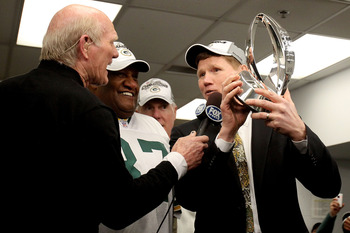 CHICAGO, IL - JANUARY 23:  Green Bay Packers president Mark Murphy holds the George Halas Trophy as he is interviewed by Fox's Terry Bradshaw after the Packers 21-14 victory against the Chicago Bears in the NFC Championship Game at Soldier Field on Januar