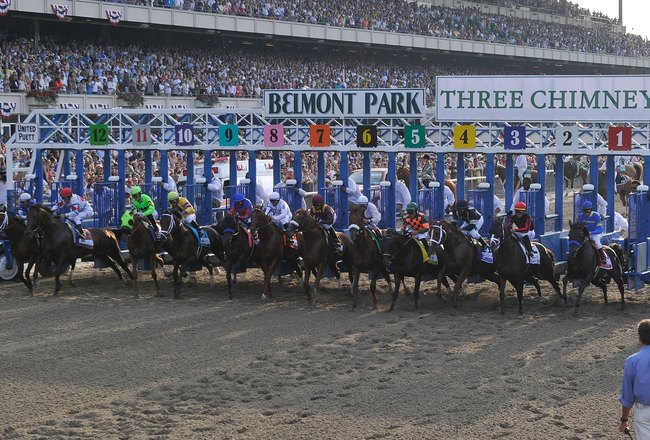 ELMONT, NY - JUNE 05:  The horses break out of the starting gate at the running of the 142nd Belmont Stakes at Belmont Park on June 5, 2010 in Elmont, New York.  (Photo by Paul Bereswill/Getty Images)